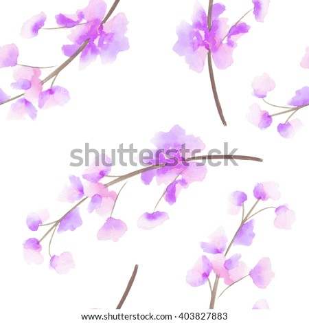 Seamless pattern with the isolated watercolor pink, purple and violet Delphinium (Larkspur) flower, hand drawn on a white background