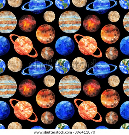 Seamless pattern with the planets of the Solar system on black background. Mercury, Venus, Earth, Mars, Jupiter, Saturn, Uranus, Neptune, Pluto. Watercolor illustration - stock photo
