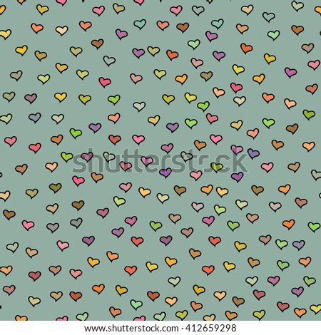 Seamless pattern with tiny colorful hearts. Abstract repeating. Cute backdrop. Gray green background. Template for Valentine's, Mother's Day, wedding, scrapbook, surface textures.  - stock photo