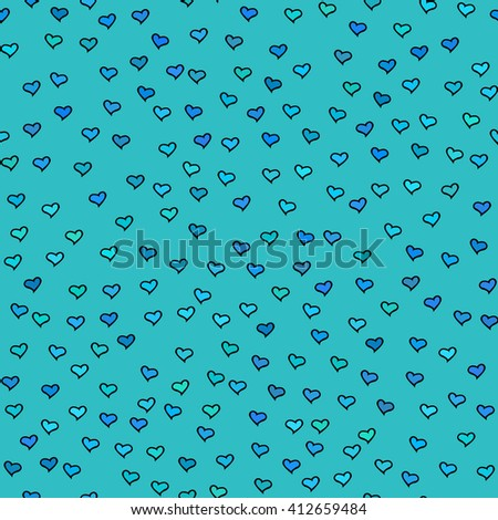 Seamless pattern with tiny hearts. Abstract repeating. Cute backdrop. Blue background. Template for Valentine's, Mother's Day, wedding, scrapbook, surface textures.  - stock photo