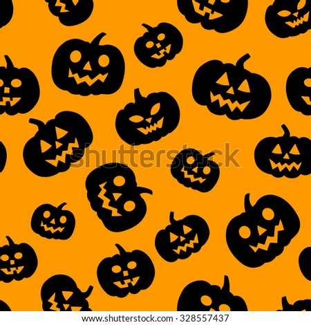 Seamless pattern with traditional carved pumpkins. Perfect background for your Halloween design.