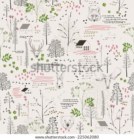 Seamless pattern with trees, shrubs, foliage, deer, elk, fox, bear, rabbit, rabbit, animals on light background in vintage style. Background for fabric, scrapbooking in hipster style. Hand drawing. - stock photo