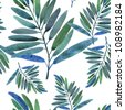 Seamless pattern with tropical leaves - stock vector