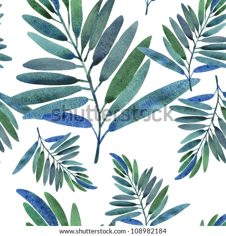 Seamless pattern with tropical leaves - stock photo