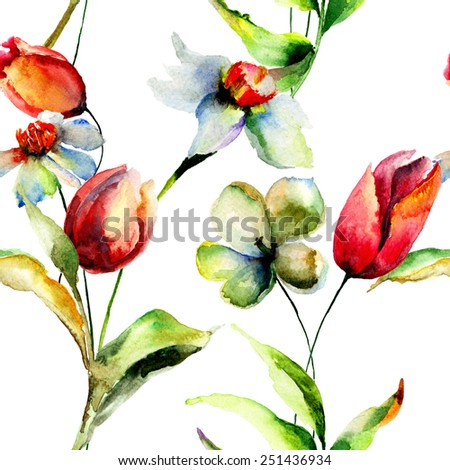 Seamless pattern with Tulips and Narcissus flowers, watercolor illustration  - stock photo