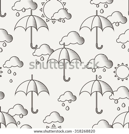 Seamless pattern with umbrellas in the rain, the lines drawn in the old style