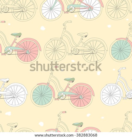 Seamless pattern with vintage bicycles. Raster version. - stock photo