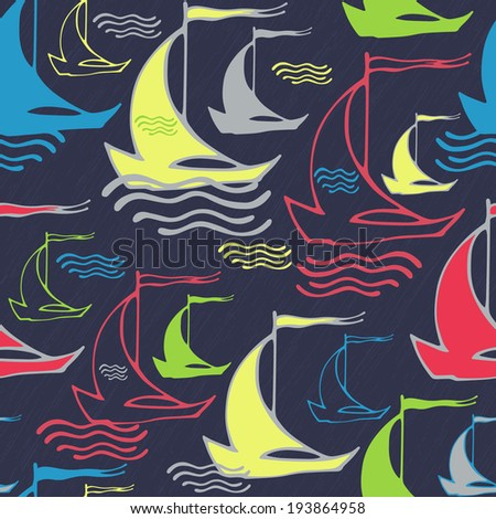 Seamless pattern with vintage decorative sailing ships on waves - stock photo