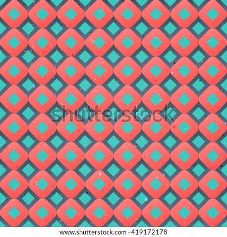 seamless pattern with vintage, geometric ornament over distressed surface texture. retro background design. fashion, decorative print template - stock photo