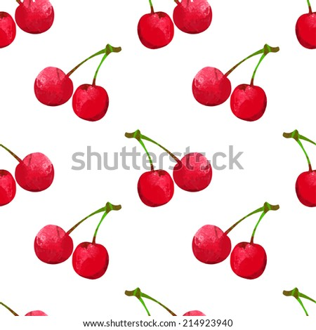 Seamless pattern with watercolor berry cherry. Endless repeating print background texture. Fabric design. Wallpaper - raster version  - stock photo