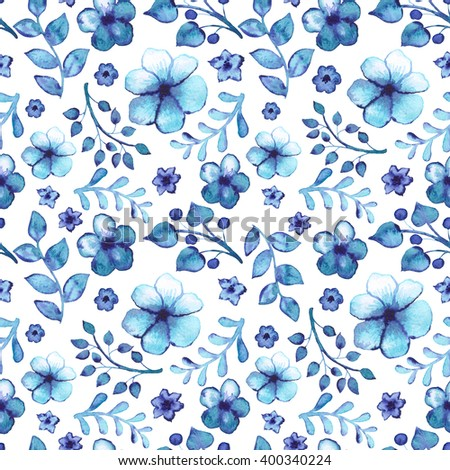 Seamless Pattern With Watercolor Blue Leaves And Flowers - stock photo