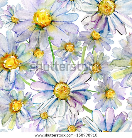 Seamless pattern with watercolor camomile flowers - stock photo