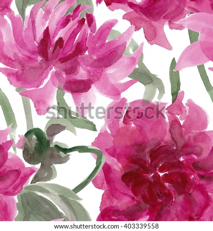 Seamless pattern with watercolor dahlia flowers. Floral background, wallpaper. Elegance pattern with realistic pink flowers. Vintage illustration - stock photo