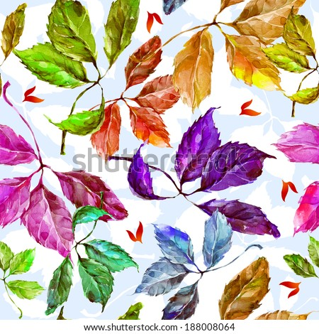 Seamless pattern with watercolor dry autumn wild grape green, red, purple, blue and orange leaves on light blue background - stock photo