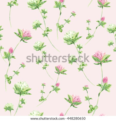 Seamless pattern with watercolor flowers of clover on pink background - stock photo