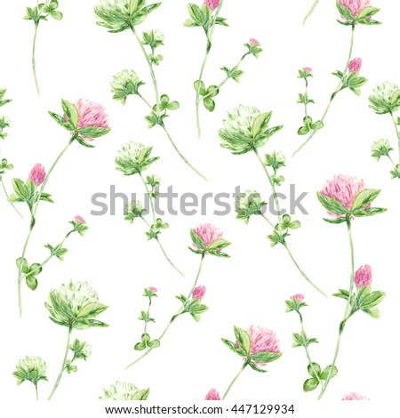 Seamless pattern with watercolor flowers of clover on white background - stock photo