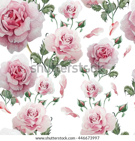 Seamless pattern with watercolor flowers. Rose. Hand drawn.