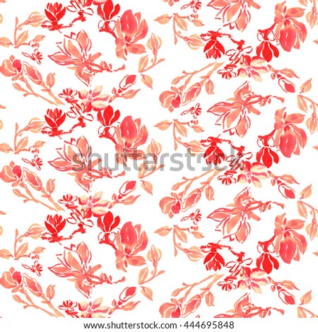 Seamless pattern with watercolor hand painted stylized spring and summer flowers and blossoms. Tints and shades of red, pink, orange colors on white background. Textured paper. - stock photo