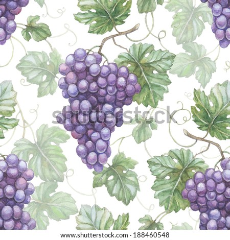 Seamless pattern with watercolor illustration of grapes - stock photo
