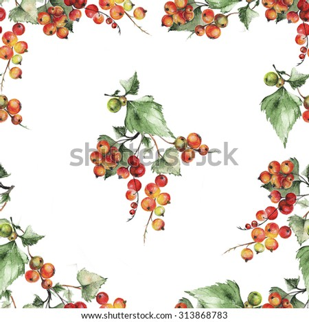 Seamless pattern with watercolor illustration of red currants. Watercolor red currant pattern