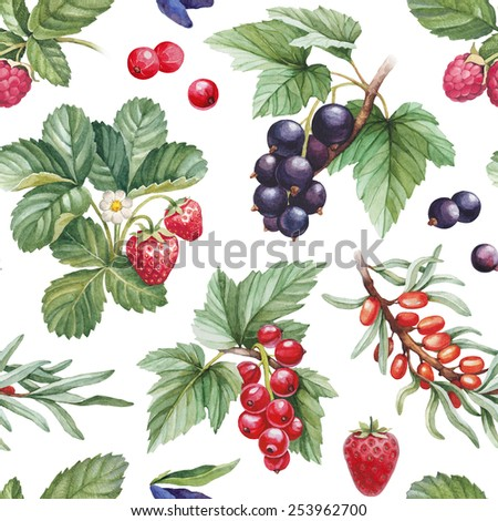 Seamless pattern with watercolor illustrations of berries - stock photo