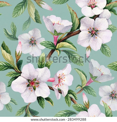 Seamless pattern with watercolor illustrations of cherry flowers - stock photo