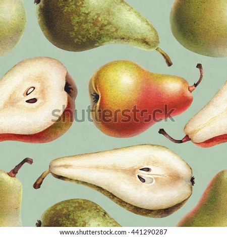 Seamless pattern with watercolor illustrations of pears