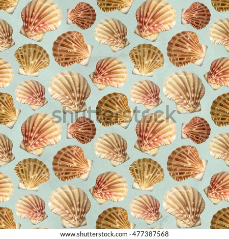 Seamless pattern with watercolor illustrations of shells