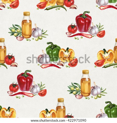 Seamless pattern with watercolor illustrations of vegetables