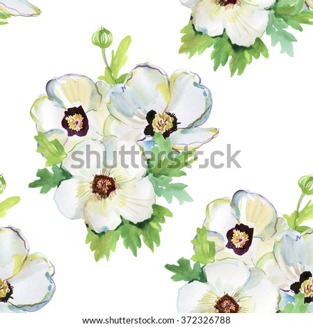 Seamless pattern with watercolor illustrations of white  flowers. - stock photo