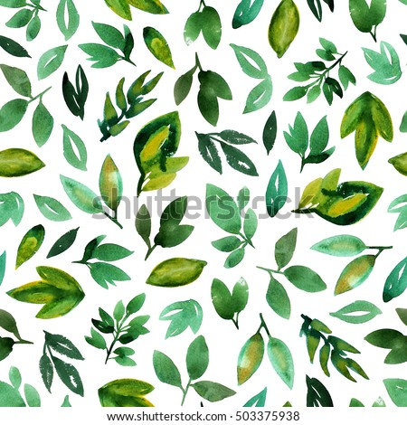 Seamless pattern with watercolor leaves. Green watercolor. Ink illustration. Hand drawn ornament for wrapping paper.  Isolated on white background.