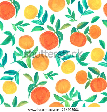 Seamless pattern with watercolor oranges - stock photo