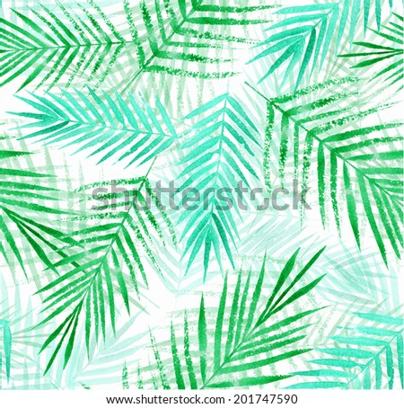 seamless pattern with watercolor palm leaves - stock photo