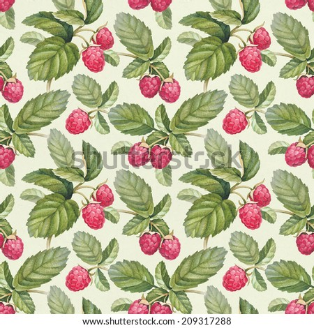 Seamless pattern with watercolor raspberry - stock photo