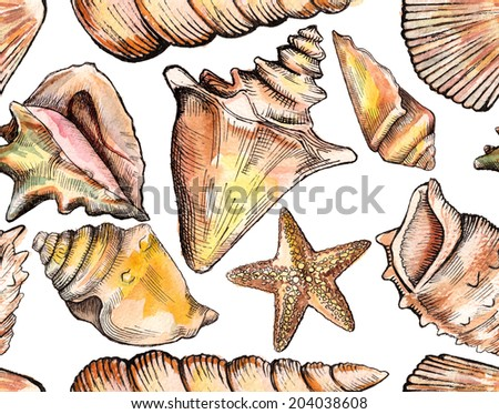 seamless pattern with watercolor seashells - stock photo
