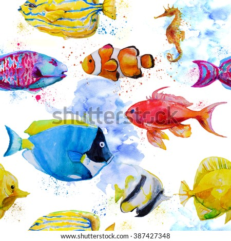seamless pattern with watercolor tropical fish - stock photo