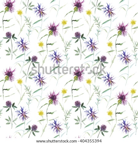 Seamless pattern with watercolor wild flowers.  - stock photo