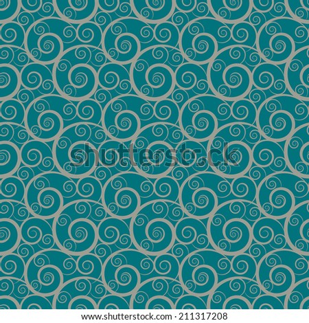 Seamless pattern with waves. Abstract floral background. Endless print silhouette texture. Line art - raster version