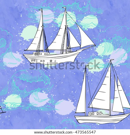 Seamless pattern with waves and ships. Hand drawn  illustration