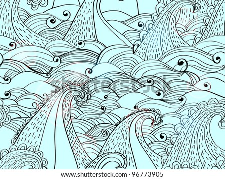 seamless pattern with waves, beautiful blue illustration - stock photo
