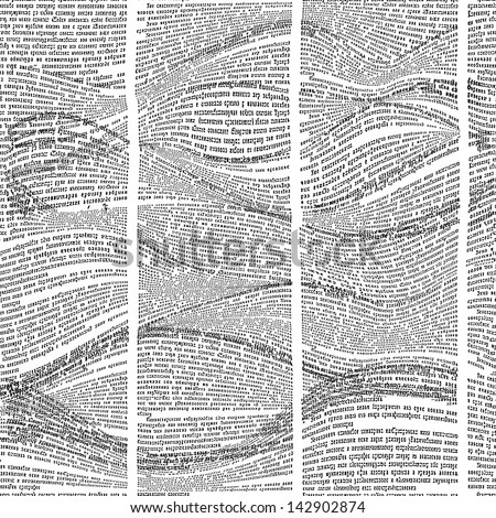 Seamless pattern with waves of newspaper columns. Text in newspaper page unreadable. - stock photo