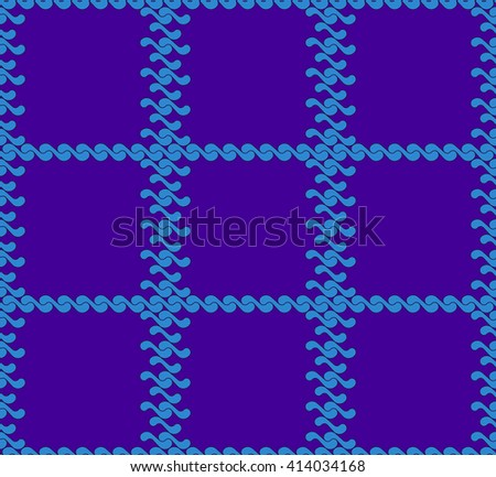 seamless pattern with waves yin yang blue and purple checkerboard colors JPEG - stock photo
