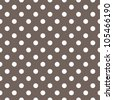 Seamless pattern with white polka dots on a dark brown background. For cards, invitations, wedding or baby shower albums, backgrounds, arts and scrapbooks. - stock vector