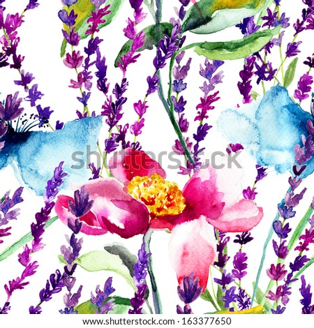 Seamless pattern with wild flowers, watercolor illustration - stock photo