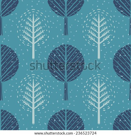 Seamless pattern with winter trees and snow. Abstract hand drawn texture. Repeating print background. Nature. Cloth design. Wallpaper  - stock photo