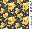 Seamless pattern with yellow hibiscus flowers. Watercolor illustration. - stock vector