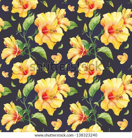 Seamless pattern with yellow hibiscus flowers. Watercolor illustration. - stock photo