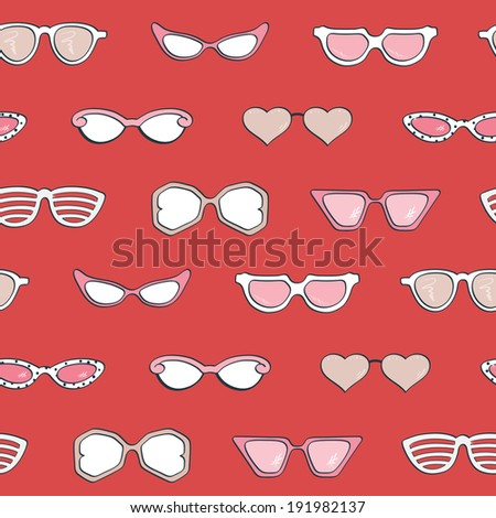 Seamless pattern, Women's fashion isolated sunglasses  set. Template frame design for card, fashion theme