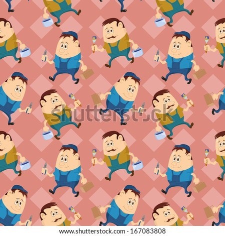 Seamless pattern, workers with pliers and toolboxes and painters with brushes and buckets, cartoon characters on abstract background. - stock photo