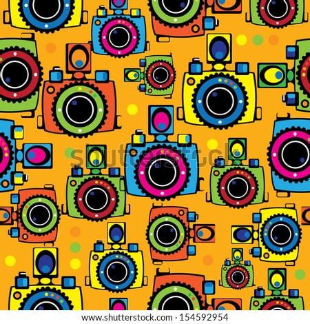 seamless pattern youth camera  - stock photo